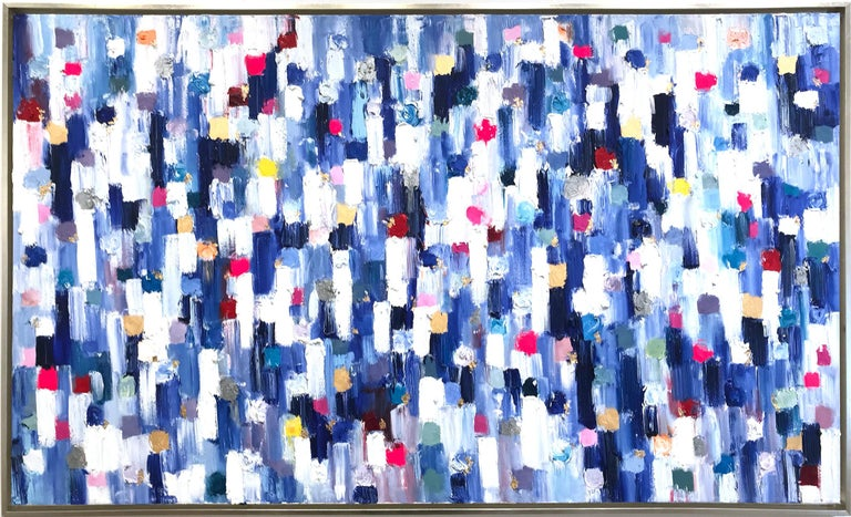 """Cindy Shaoul Abstract Painting - """"Dripping Dots - Carrera"""" Colorful Abstract Landscape Oil Painting on Canvas"""