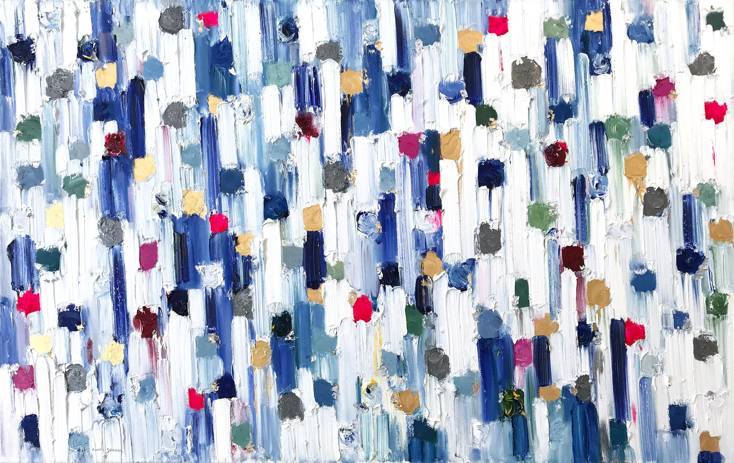 """""""Dripping Dots - Carrera"""" Colorful Contemporary Abstract Oil Painting on Canvas"""