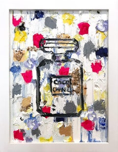 """Dripping Dots - Coco Candy"" Contemporary Colorful Chanel Oil Painting"