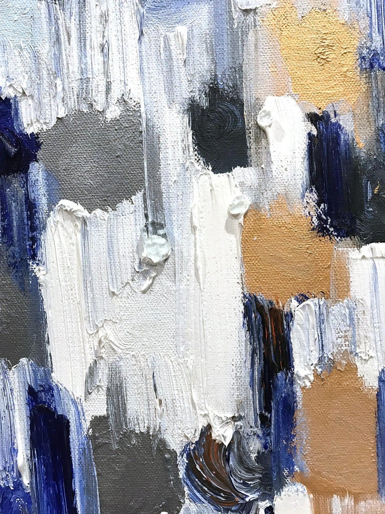 With layers of bright oils and whisking brush strokes, the paint is able to shine and shimmer in a very unique pattern. The artist uses thick textured oils, glass, with silver and gold, to add a very contemporary, urban feel. The way the paint