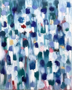"""Dripping Dots - Cypress"" Colorful Contemporary Oil Painting on Canvas"