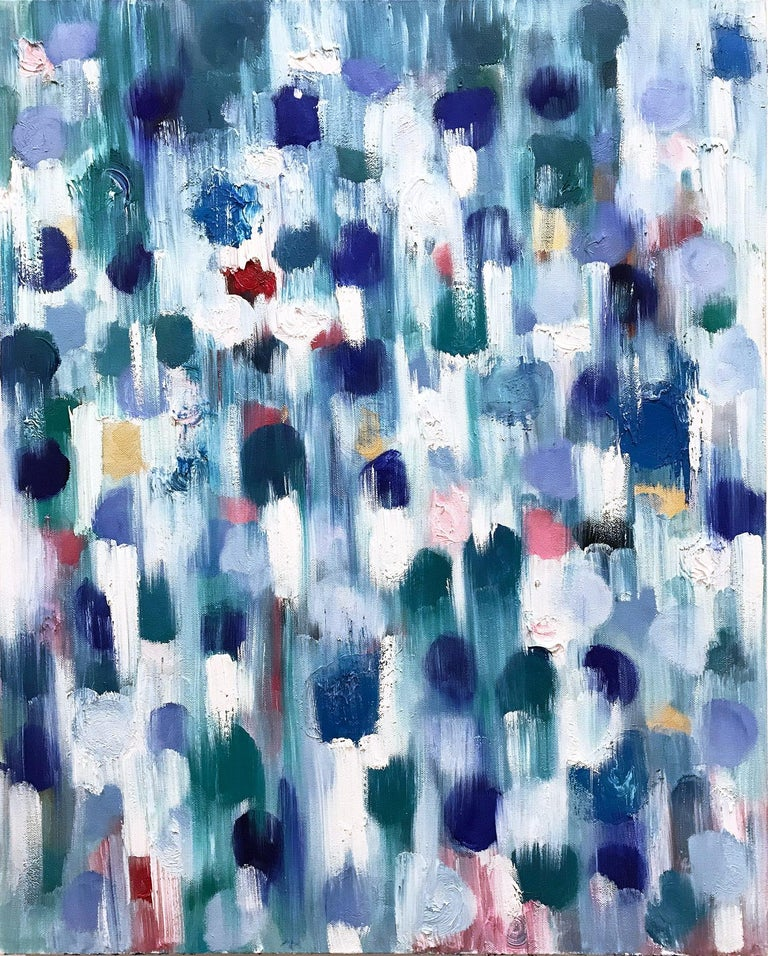 """Cindy Shaoul Abstract Painting - """"Dripping Dots - Cypress"""" Colorful Contemporary Oil Painting on Canvas"""