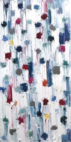 """""""Dripping Dots - Emerald"""" Colorful Contemporary Abstract Painting on Canvas"""