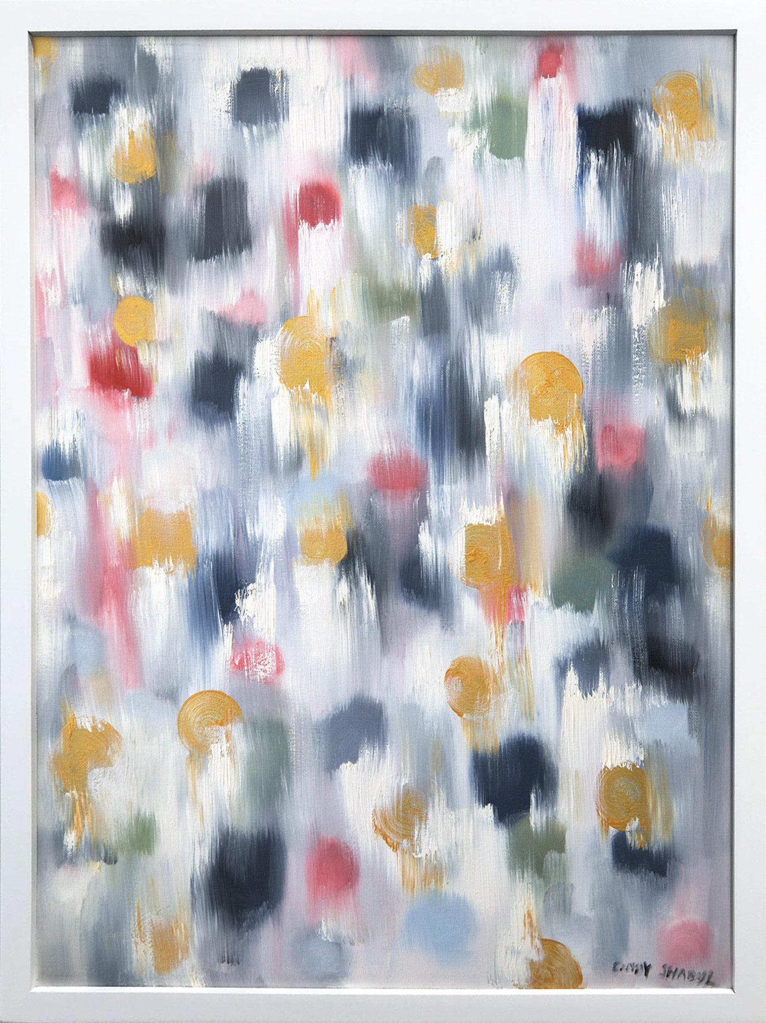 """""""Dripping Dots - Gold Spring"""" Colorful Contemporary Oil Painting on Canvas"""