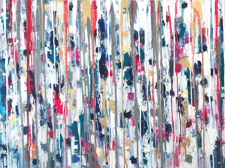 """Cindy Shaoul Abstract Painting - """"Dripping Dots - Havana"""" Colorful Abstract Oil Painting on Canvas"""