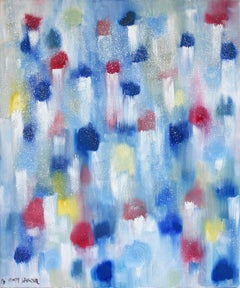 """""""Dripping Dots - Hollywood Lights"""" Colorful Contemporary Oil Painting on Canvas"""