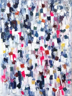 """""""Dripping Dots - Jardin du Luxembourg"""" Colorful Abstract Oil Painting on Canvas"""