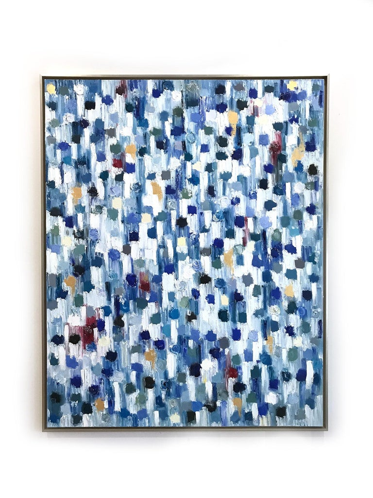 Dripping Dots - Kashmir, Colorful, Abstract, Oil Painting For Sale 14