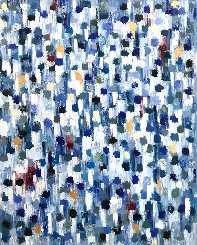 Dripping Dots - Kashmir, Colorful, Abstract, Oil Painting - Blue Abstract Painting by Cindy Shaoul