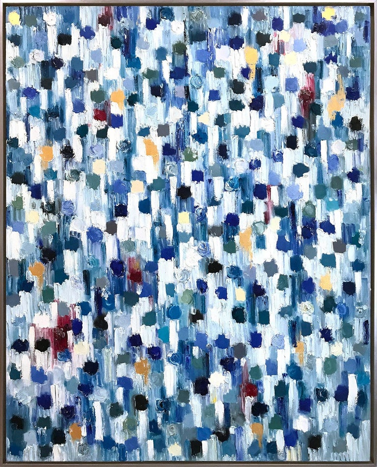 Cindy Shaoul Abstract Painting - Dripping Dots - Kashmir, Colorful, Abstract, Oil Painting