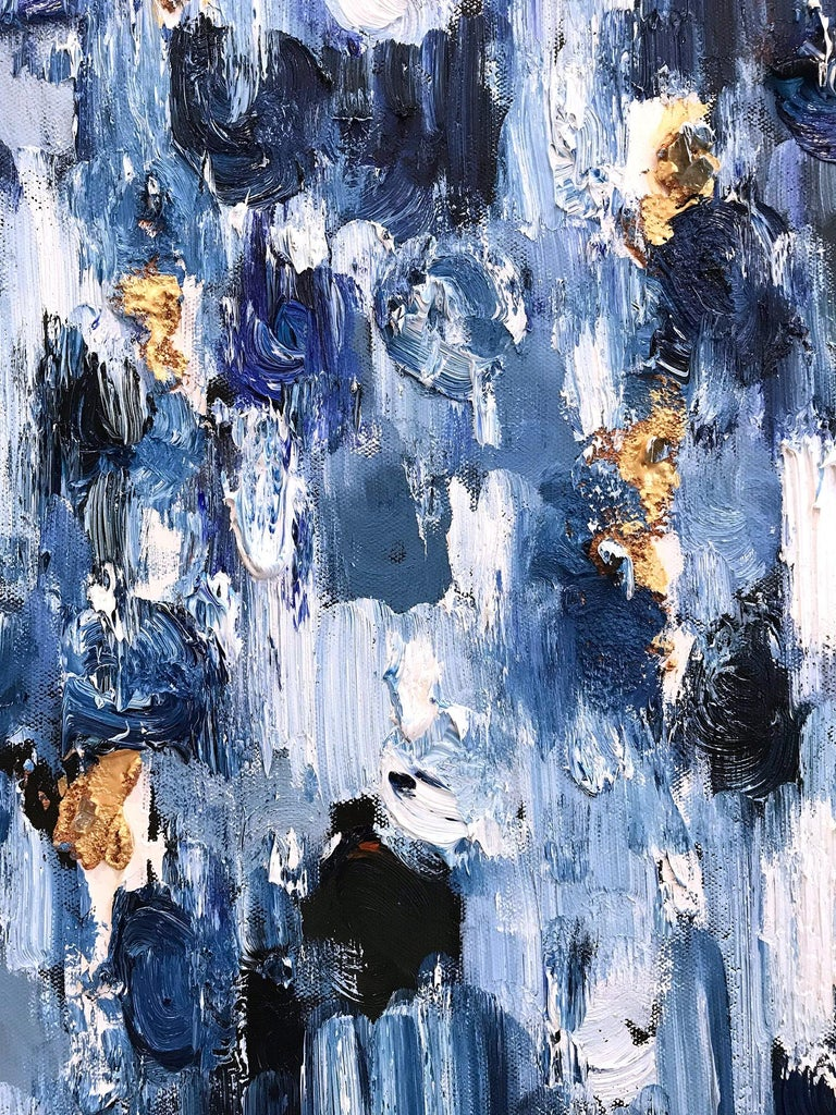 With layers of bright oils and whisking brush strokes, the paint is able to shine and shimmer in a very unique pattern. The artist uses gold textured paint, thick oils, mixed media and, pieces of glass to add a very contemporary, elegant feel. The