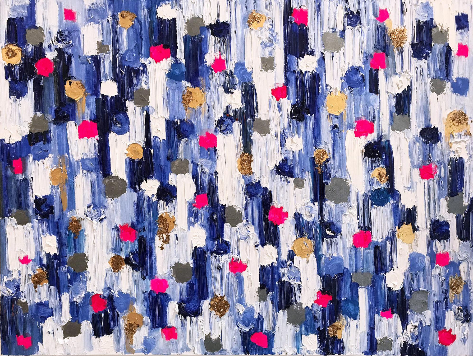 """""""Dripping Dots - Monaco"""" Colorful Abstract Oil Painting on Canvas"""
