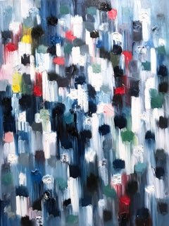 Dripping Dots, Mallorca Nights, Colorful, Abstract, Oil Painting