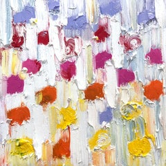 """""""Dripping Dots -  Mini Rainbow"""" Colorful Abstract Oil Painting on Canvas"""