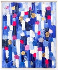 """""""Dripping Dots -  Monaco"""" Colorful Gradient Abstract Oil Painting on Canvas"""