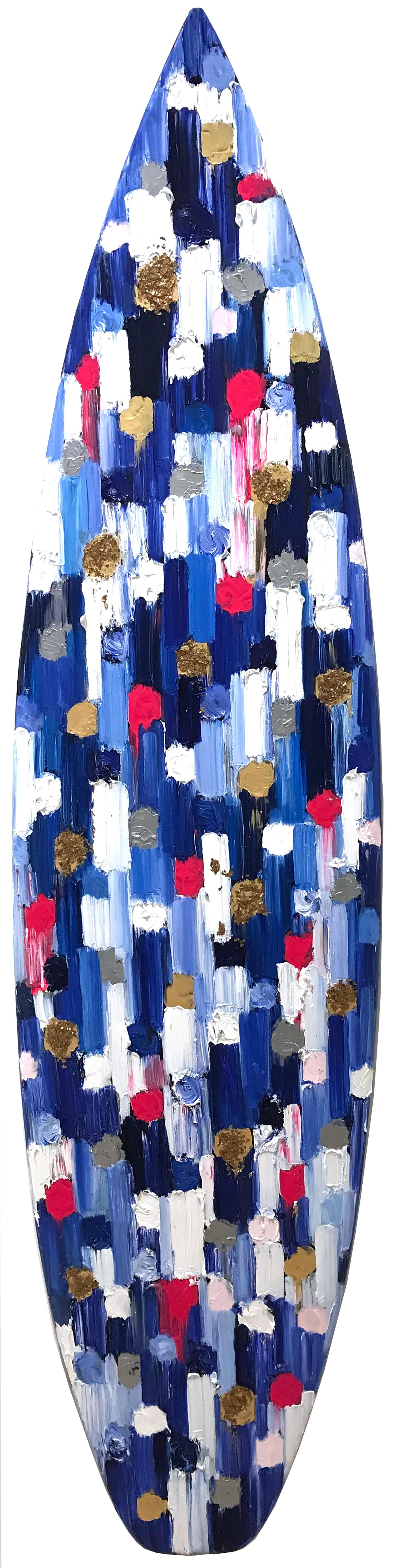 """""""Dripping Dots - Monaco Surf"""" Colorful Abstract Oil Painting on a Surf Board"""