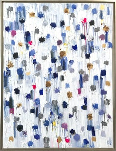 """""""Dripping Dots - Montclair"""" Colorful Abstract Oil Painting on Canvas"""
