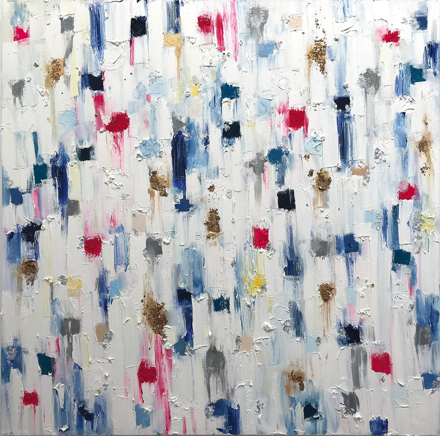 """""""Dripping Dots - Montpellier"""" Colorful Abstract Oil Painting on Canvas"""