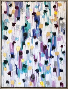 """""""Dripping Dots -  Mykonos"""" Colorful Contemporary Abstract Oil Painting on Canvas"""