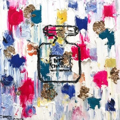 """Dripping Dots - N5 in Cannes"" Contemporary Perfume Bottle Chanel Painting"