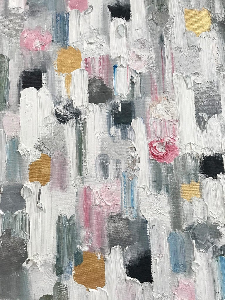With layers of bright oils and whisking brush strokes, the paint is able to shine and shimmer in a very unique pattern. The artist uses gold leaf and thick textured oils, to add a very contemporary, urban feel. The way the paint blends and washes
