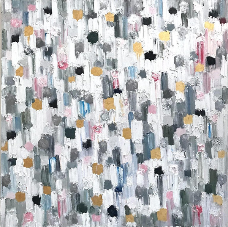 """Cindy Shaoul Abstract Painting - """"Dripping Dots - Paris"""" Colorful Abstract Oil Painting on Canvas"""
