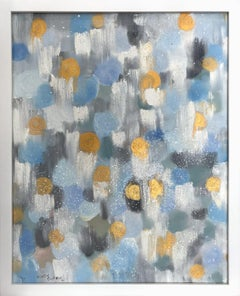 """""""Dripping Dots - Periwinkle & Gold"""" Colorful Contemporary Oil Painting on Canvas"""
