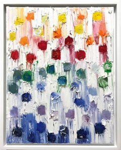 """""""Dripping Dots - Rainbow """" Colorful Abstract Gradient Oil Painting on Canvas"""