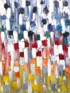 """""""Dripping Dots - Rainbow"""" Colorful Abstract Oil Painting on Canvas"""