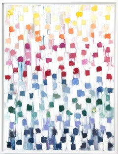 """""""Dripping Dots - Rainbow Diamond"""" Colorful Abstract Oil Painting on Canvas"""