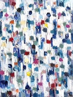 Dripping Dots, Saint Barts, Colorful, Abstract, Oil Painting