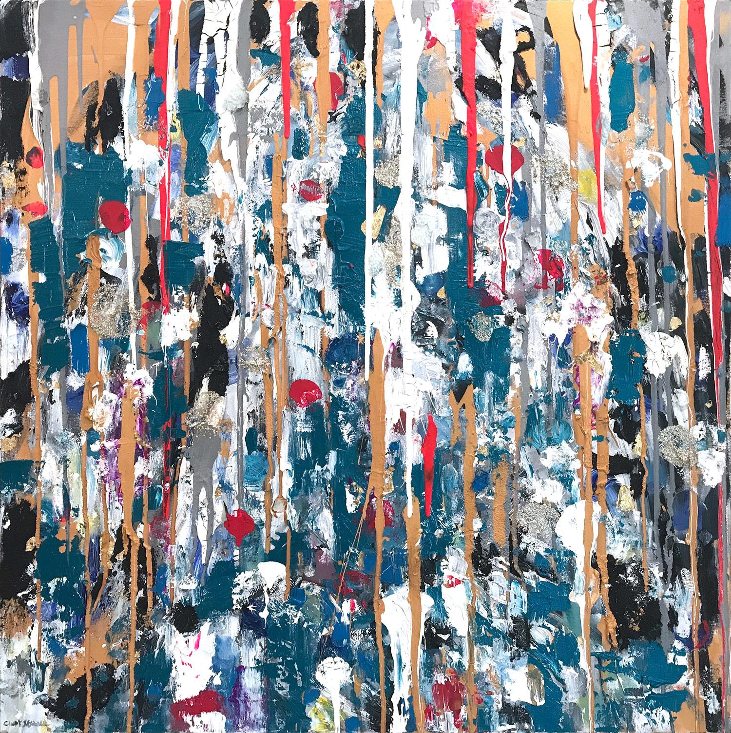 """""""Dripping Dots - Saint Thomas"""" Contemporary Abstract Oil Painting on Canvas"""