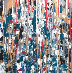 """Dripping Dots - Saint Thomas"" Contemporary Abstract Oil Painting on Canvas"