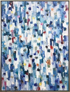 """Dripping Dots - Saint-Tropez"" Colorful Abstract Oil Painting on Canvas"