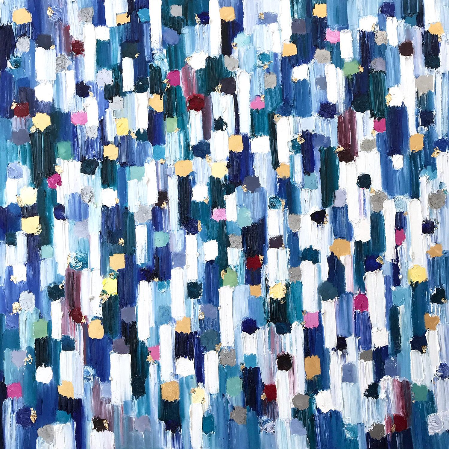 """""""Dripping Dots -  Saint Tropez"""" Colorful Abstract Oil Painting on Canvas"""