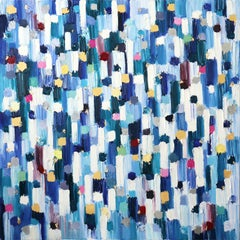 """Dripping Dots -  Saint Tropez"" Colorful Abstract Oil Painting on Canvas"