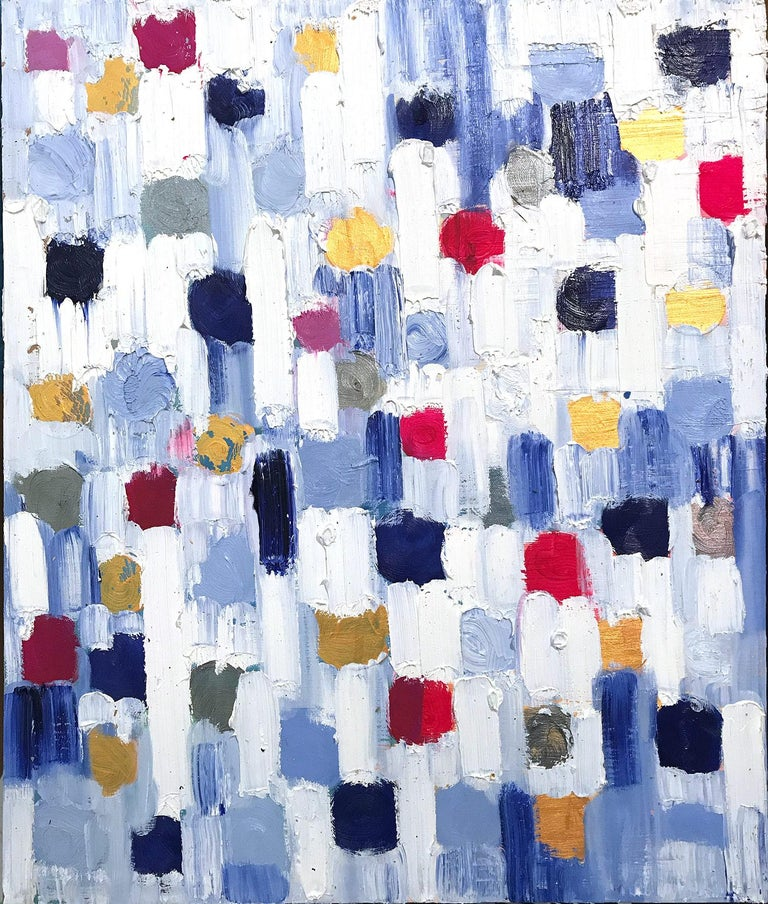 """Cindy Shaoul Abstract Painting - """"Dripping Dots - Spain"""" Colorful Abstract Oil Painting on Canvas"""