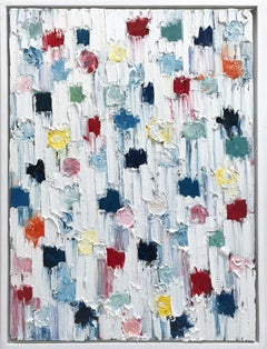 """""""Dripping Dots - St. Barts"""" Colorful Abstract Oil Painting on Canvas"""