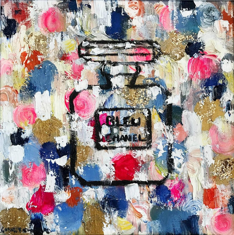 Dripping Dots, Summer in Bleu de Chanel - Painting by Cindy Shaoul