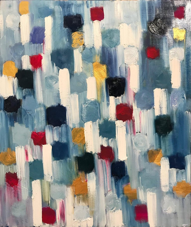 """Cindy Shaoul Abstract Painting - """"Dripping Dots - Tokyo"""" Colorful Abstract Oil Painting on Canvas"""