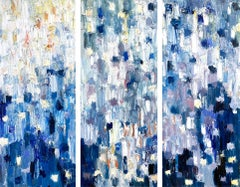 """""""Dripping Dots - Water Lillies"""" Colorful Abstract Triptych Oil Painting Canvas"""