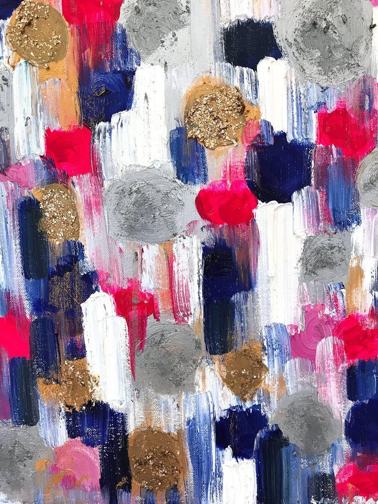 Dripping Dots, Bali Nights - Gray Abstract Painting by Cindy Shaoul