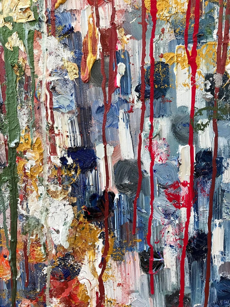 Dripping Dots, Havana - Gray Abstract Painting by Cindy Shaoul