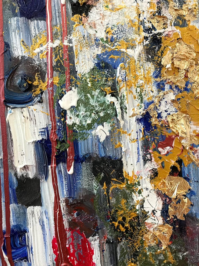 With layers of bright oils and whisking brush strokes, the paint is able to shine and shimmer in a very unique pattern. The artist uses gold drips, gold leaf, mixed media and pieces of glass to add a very contemporary, Urban feel. The way the paint