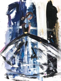 """""""Eisley"""" Figure with White Gown French Haute Couture Oil Painting on Paper"""