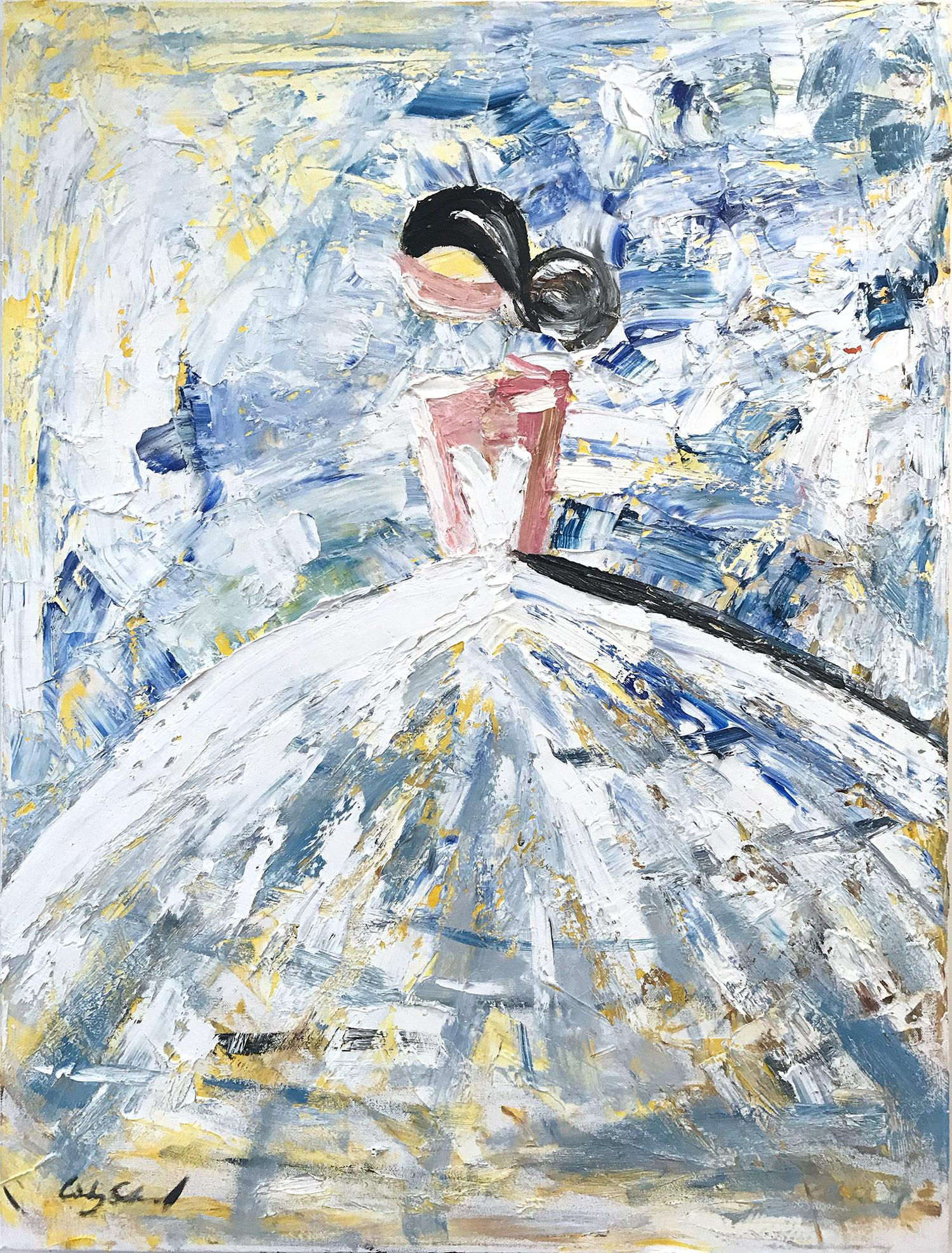 """""""Elisa"""" Abstract Figure with Gown French Haute Couture Oil Painting on Canvas"""