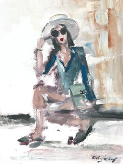 """Emily in Coco"" Figure wearing Chanel by in LA Oil Painting on Paper"