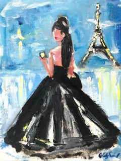 """Emily in Paris"" Figure wearing Chanel by Eiffel Tower Oil Painting on Paper"