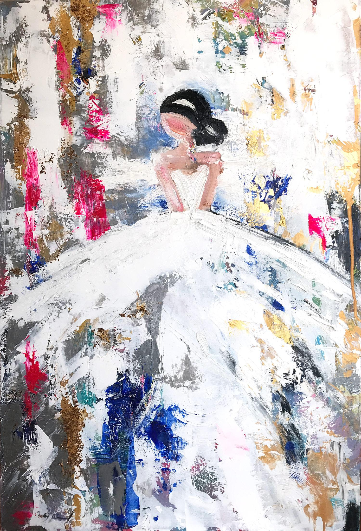 """""""Emma"""" Abstract Figure with Gown French Haute Couture Oil Painting on Canvas"""