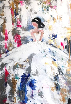 """Emma"" Abstract Figure with Gown French Haute Couture Oil Painting on Canvas"